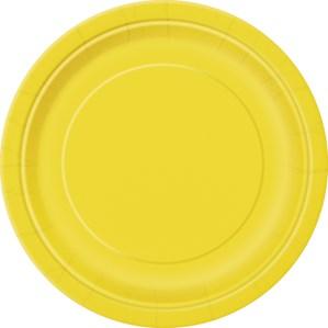 """Sunflower Yellow 7"""" Round Paper Plates 8pk"""