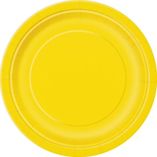 """Sunflower Yellow 9"""" Round Paper Plates 8pk"""