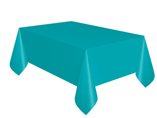 "Teal Rectangular Plastic Tablecover 54""x 108"" (Compact Pkg)"