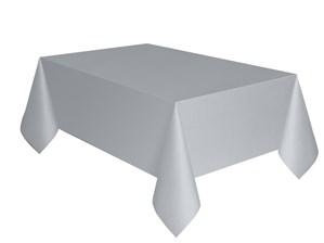 "Silver Rectangular Plastic Tablecover 54""x 108"""