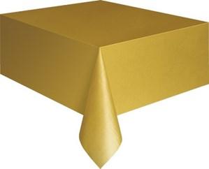"Gold Rectangular Plastic Tablecover 54""x 108"""