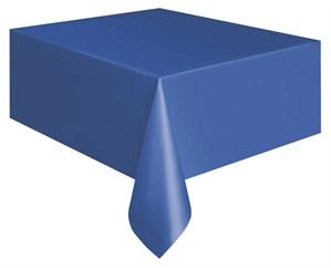 "Royal Blue Rectangular Plastic Tablecover 54""x 108"""
