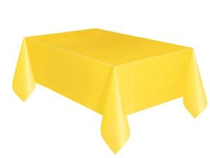 "Yellow Rectangular Plastic Tablecover 54""x 108"""