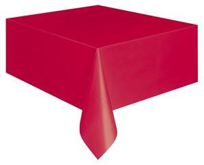 """Red Rectangular Plastic Tablecover 54""""x 108"""""""
