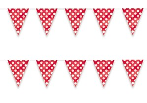 Decorative Dots Ruby Red Flag Banner 12ft