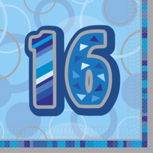 16th Birthday Blue Luncheon Napkins 16pk
