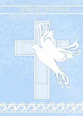 8 Dove Cross Blue Invitations