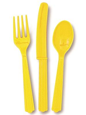 Sunflower Yellow Assorted Plastic Cutlery 18pk