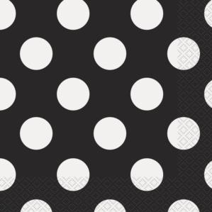 16 Decorative Dots Midnight Black Luncheon Napkins