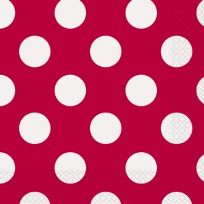 16 Decorative Dots Ruby Red Luncheon Napkins