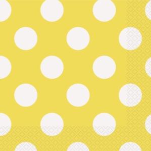 16 Decorative Dots Sunflower Yellow Luncheon Napkins
