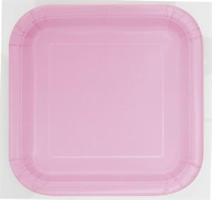 "Light Pink 7"" Square Paper Plates 16pk"