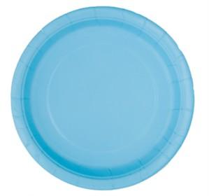 "Light Powder Blue 9"" Round Paper Plates 8pk"