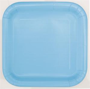 """Light Powder Blue 9"""" Square Paper Plates 14pk"""