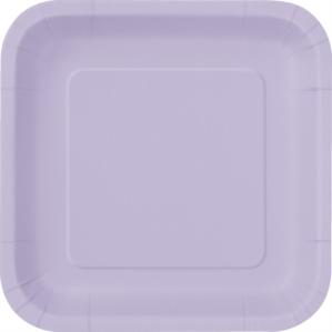 "Lavender 9"" Square Paper Plates 14pk"