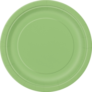 """Lime Green 9"""" Round Paper Plates 8pk"""