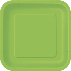"Lime Green 7"" Square Paper Plates 16pk"