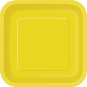 "Sunflower Yellow 9"" Square Paper Plates 14pk"