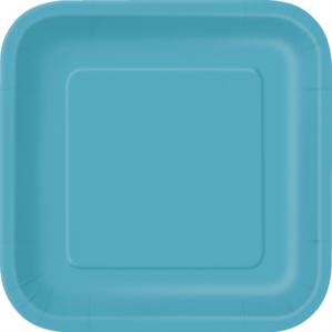 "Caribbean Teal 7"" Square Paper Plates 16pk"