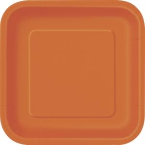 "Pumpkin Orange 7"" Square Paper Plates 16pk"