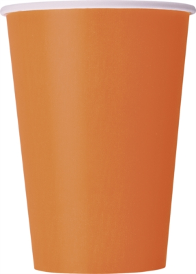 Pumpkin Orange 12oz Large Paper Cups 10pk