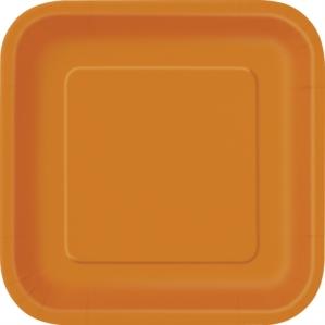 "Pumpkin Orange 9"" Square Paper Plates 14pk"