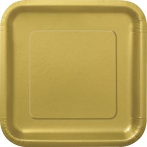 "Gold 9"" Square Paper Plates 14pk"