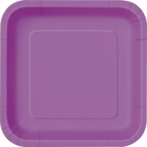 """Pretty Purple 7"""" Square Paper Plates 16pk"""