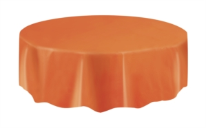 "Orange Round Plastic Tablecover 84"""