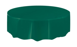 """Forest Green Round Plastic Tablecover 84"""""""