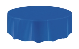 """Royal Blue Round Plastic Tablecover 84"""""""