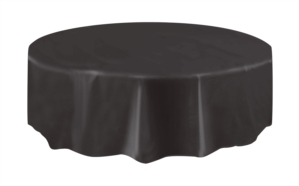 """Black Round Plastic Tablecover 84"""""""