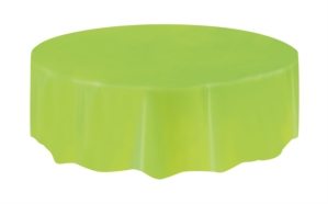 """Lime Green Round Plastic Tablecover 84"""""""
