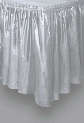 """Silver Plastic Tableskirt 14ft x 29"""""""