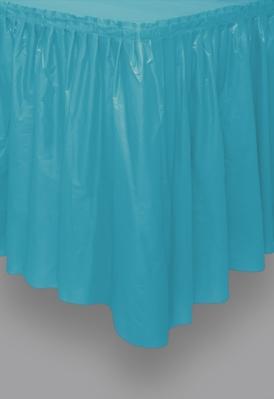 "Caribbean Teal Plastic Tableskirt 14ft x 29"""