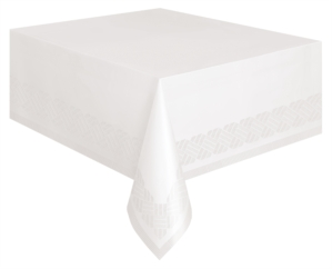 """White Plastic Lined Paper Tablecover 54""""x 108"""""""