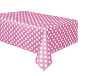 """Plastic Tablecover Pink Dots 54""""x 108"""""""