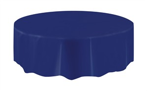 """Navy Blue Round Plastic Tablecover 84"""""""