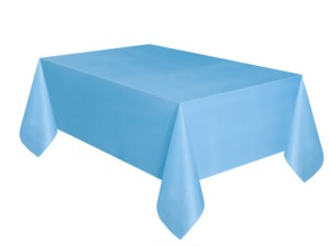 "Light Powder Blue Rectangular Plastic Tablecover 54""x 108"""