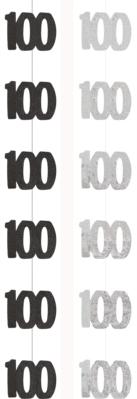 Black & Silver Glitz 100th Birthday Hanging Decorations 6pk
