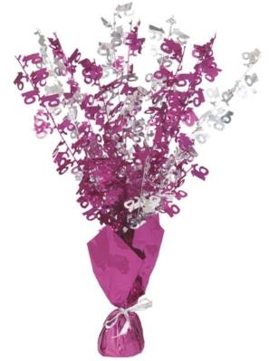 """Birthday Glitz Age 16 Foil Balloon Weight Centrepiece 16.5"""" - Pink"""