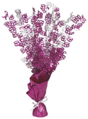 """Birthday Glitz Age 60 Foil Balloon Weight Centrepiece 16.5"""" - Pink"""