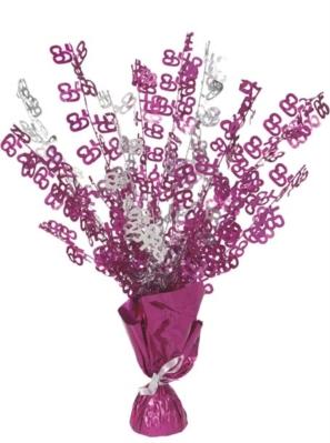 """Birthday Glitz Age 65 Foil Balloon Weight Centrepiece 16.5"""" - Pink"""