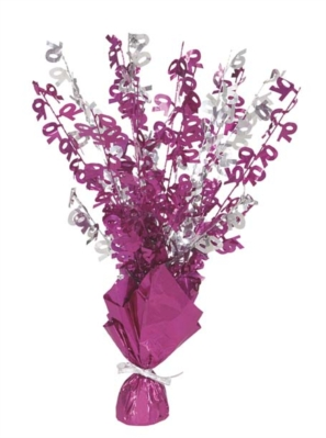 """Birthday Glitz Age 70 Foil Balloon Weight Centrepiece 16.5"""" - Pink"""