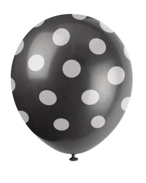 6 Decorative Dots Midnight Black Latex Balloons
