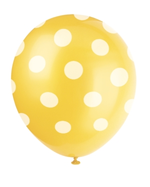 6 Decorative Dots Sunflower Yellow Latex Balloons