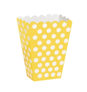Popcorn Treat Boxes Decorative Dots Yellow 8pk