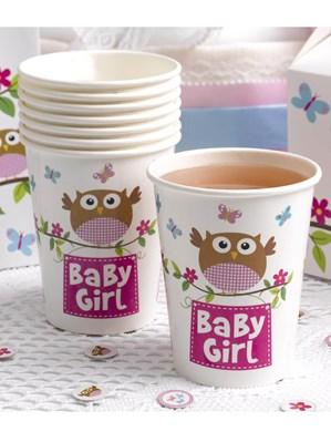 Little Owls Baby Girl Paper Cups 8pk