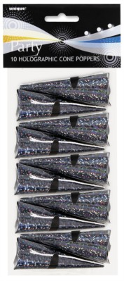 Black Holographic Cone Poppers 10pk