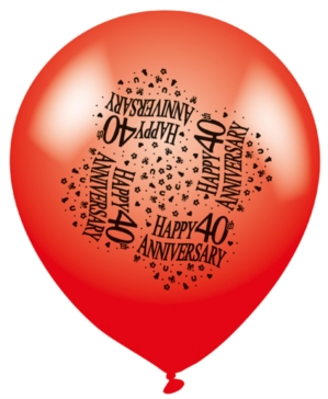 40th Anniversary Latex Balloons 8pk